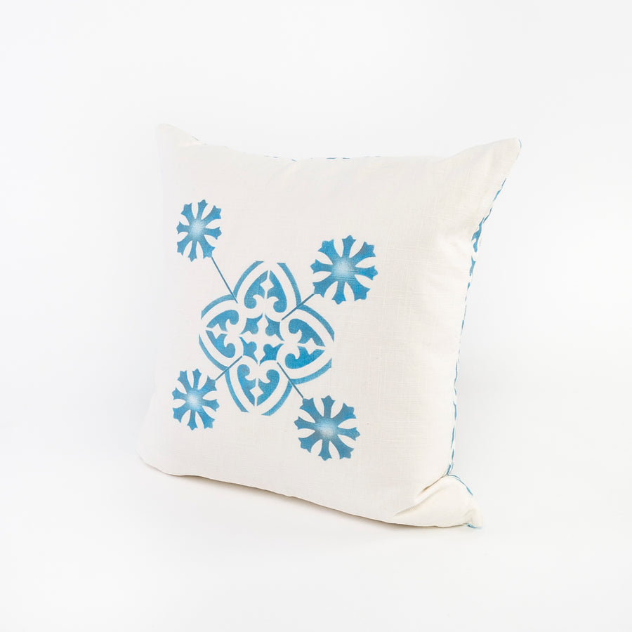 screen printed linen pillow - square design - blue and white pattern - doubled sided - preshrunk and washable