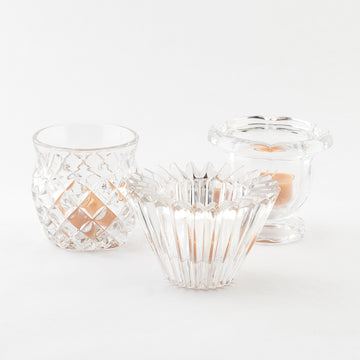 vintage glass votive candle holders - grouping of three - unique pieces