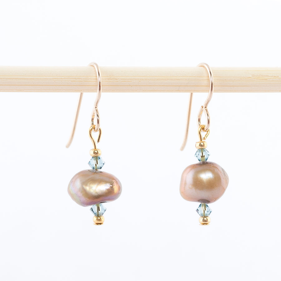 freshwater pearl and swarovski crystal earrings - dangles - women's jewelry - blue topaz