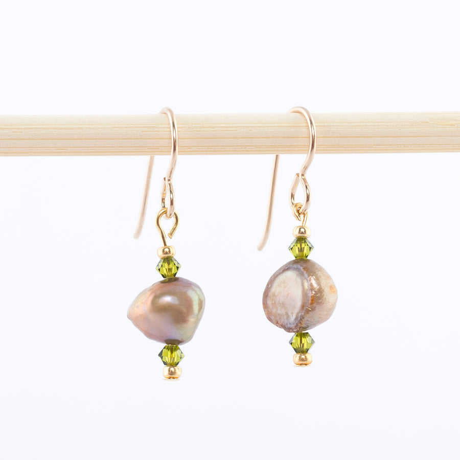 peridot and freshwater pearl dangles - swarovski crystals - earrings - 14k gold wire backs
