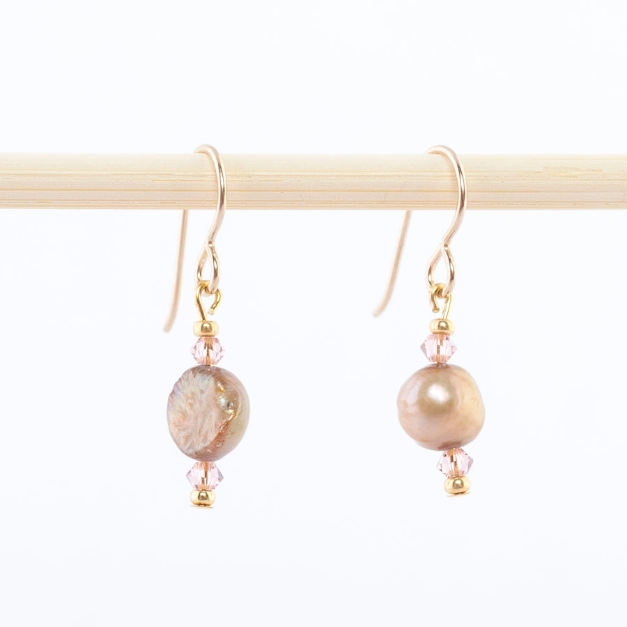 freshwater pearl and rose quartz dangle earrings - Swarovski crystals - Made in Maine