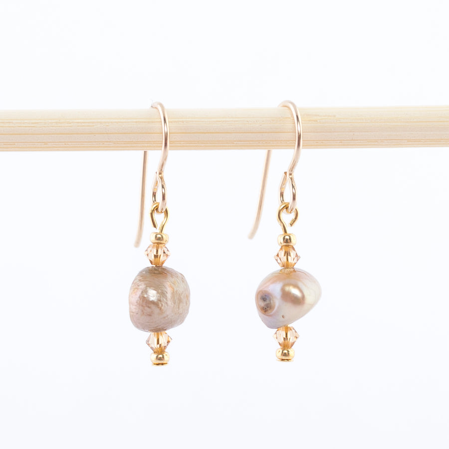 freshwater pearl and Swarovski yellow topaz crystals - dangle earrings - 14K gold-filled wire backs - made in Maine