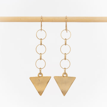 circle chain and arrow drop geometric earrings - 24k gold plated brass - gold-filled wire backs