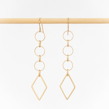 gold geometric earrings - dangles - 24k gold plated brass - handcrafted in Maine