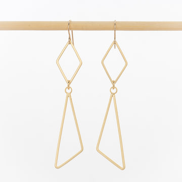 geometric earrings - open diamond and triangles - 24k gold plated brass - jewelry - dangles