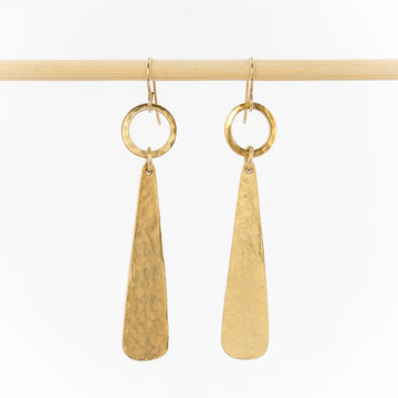 geometric dangle earrings - 14k gold plated pendants - women's jewelry - handmade in Maine