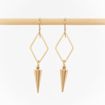 gold geometric dangle earrings - women's jewelry - open diamonds and spike drops - gold plated  - french hooks