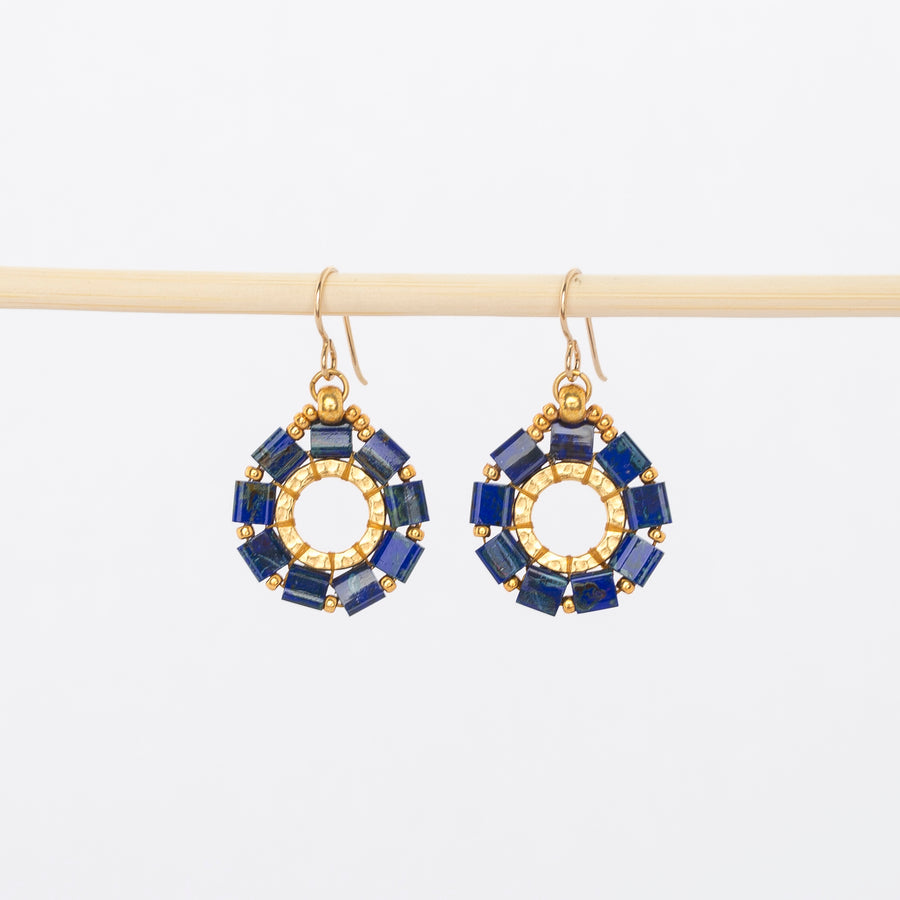 lapis everlasting hoop earrings - dangles - gold - wire backs - made in Maine