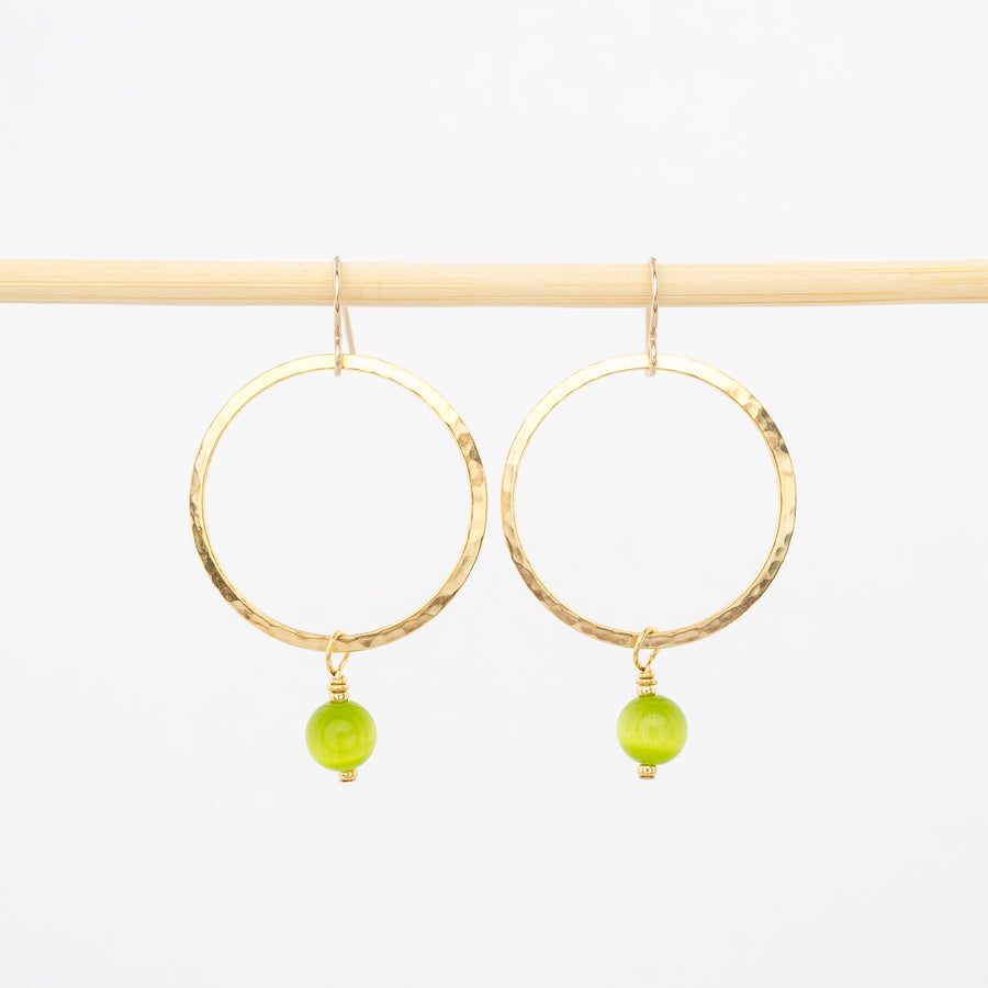 lime green bead and gold dangle hoop earrings - hope - hammered metal