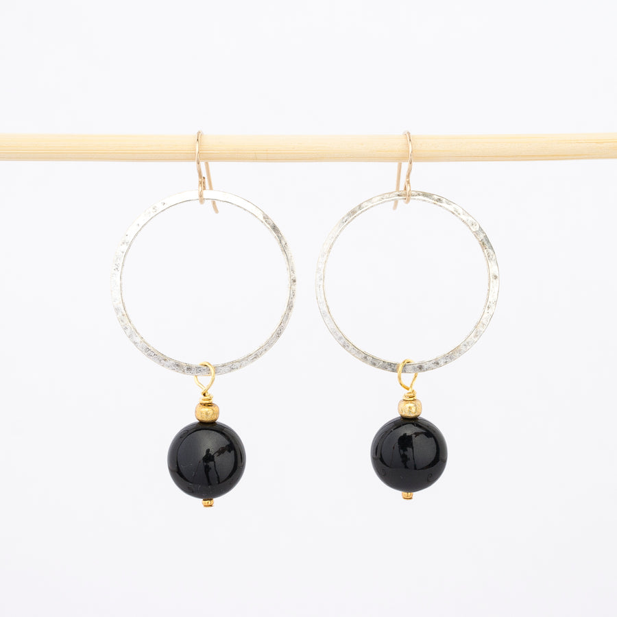 Hope hoop earrings with large black beads - dangles - french hook wire backs - hammered silver