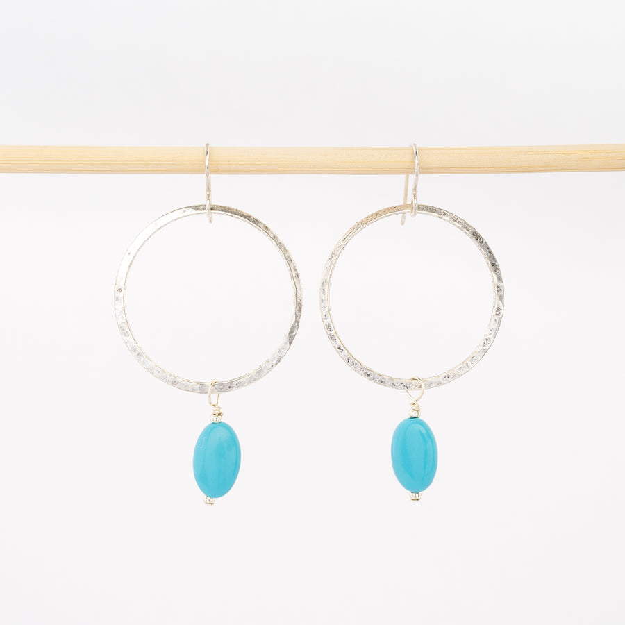 hammered silver hoops with aqua blue beads - dangle earrings - handmade jewelry in Maine