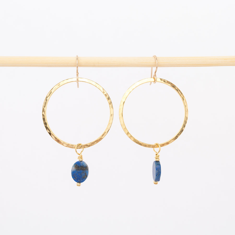 gold and lapis dangle hoops - modern earrings - jewelry - handmade in Portland, Maine