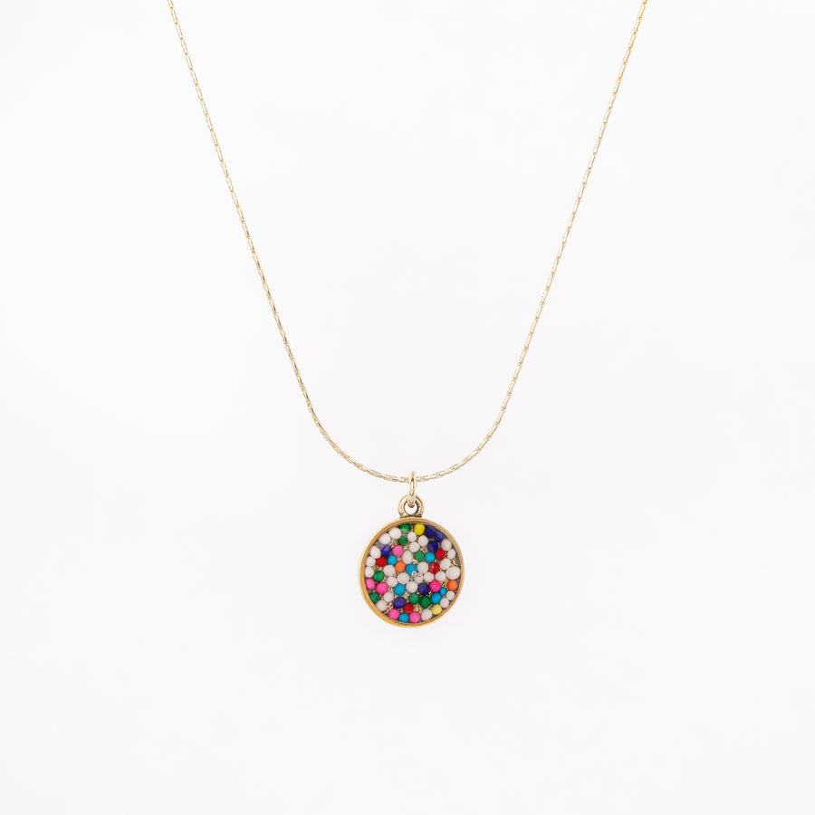 Simple Circle Pendant Necklace - with sprinkles!