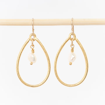 oval hoop drop and pearl earrings - handmade dangles