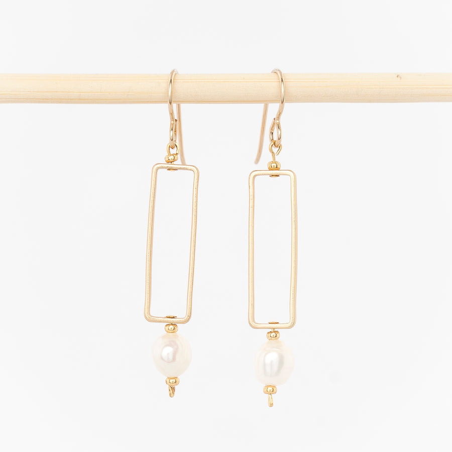 gold rectangle and pearl earrings