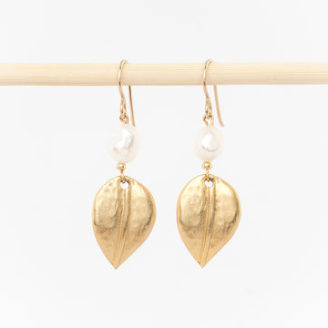 gold leaf and pearl earrings