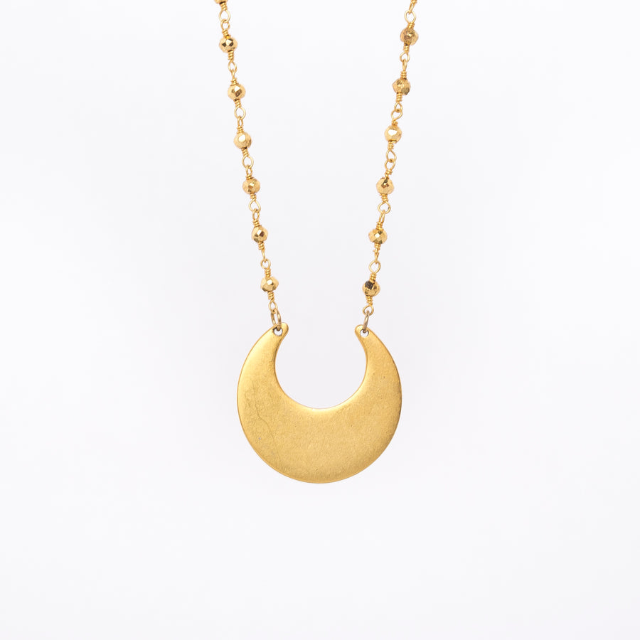 crescent moon necklace - egyptian inspired - matte gold - made in Maine