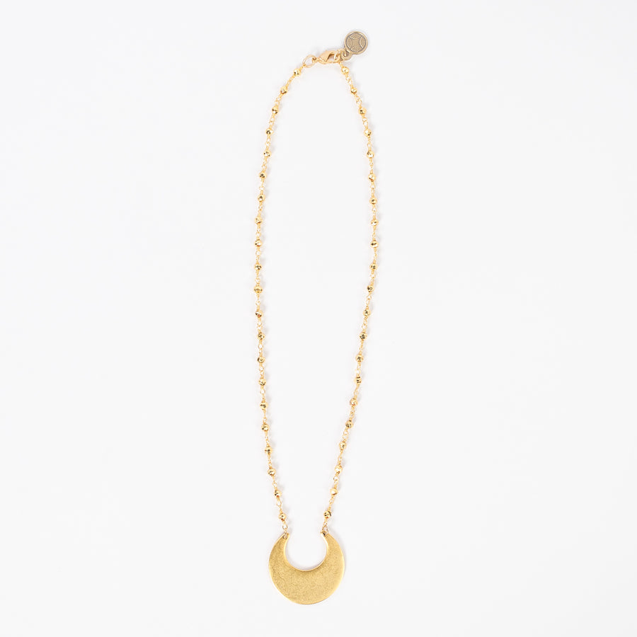 full view of the matte gold crescent moon necklace - lobster claw clasp