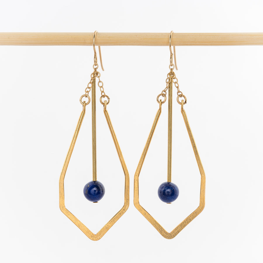 geometric drop earrings - dangles - matte brass wire - 14k gold earrings backs - lapis stone - On the Nile Collection