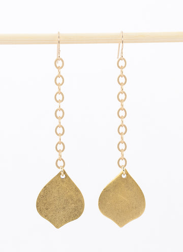 Geometric Earrings: Moroccan Drop - 14k gold plated pendant on chain with 14k gold filled ear wires.