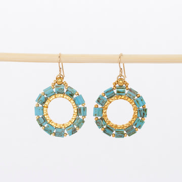everlasting hoop earrings in turquoise - square glass beads - 14k gold beads and wire backs