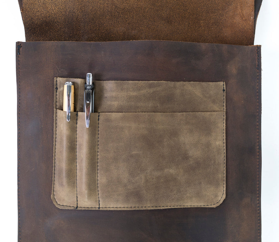 Leather Messenger Bag by Wood.Stone.Bone. - Luxurious style with a rugged flair.