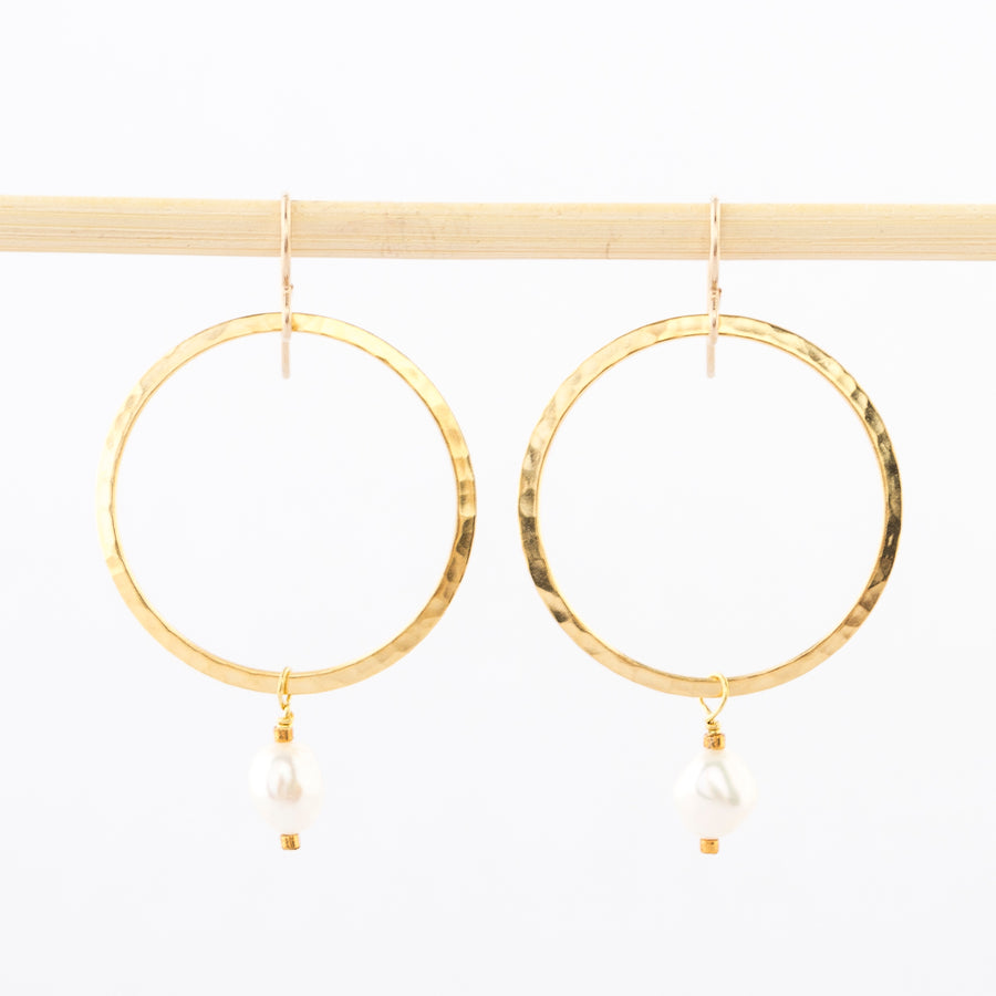 gold hoop and pearl drop earrings - dangles - white pearl bead - gold plated brass - hammered