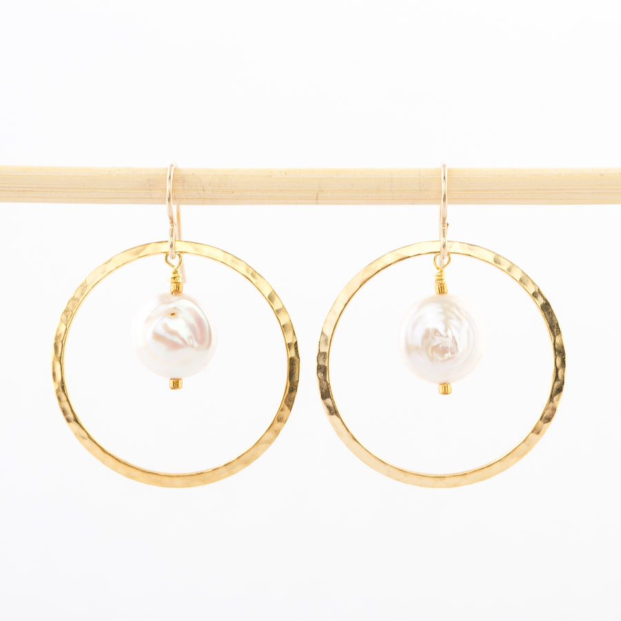 gold hoops and pearls - dangle earrings - hammered metal - wire backs - handmade in Maine