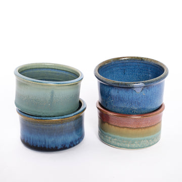 the stoneware ramekin from the bluff point collection - pottery made in maine - small baking dishes - collection shot - group image
