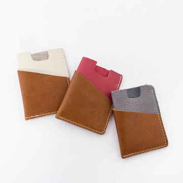 The Brockman Wallet group image - collection shot - two color style - handmade in Maine