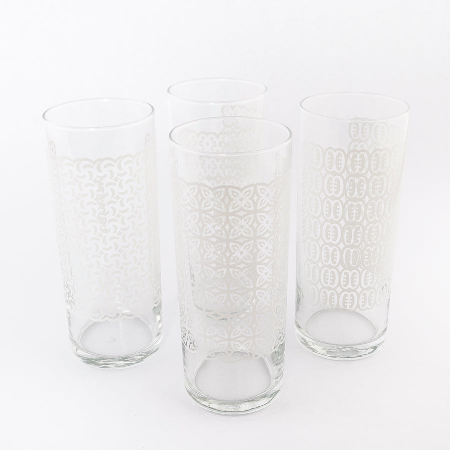 Akakpo symbol Glasses - Ghanian symbols - glassware - white - collection shot