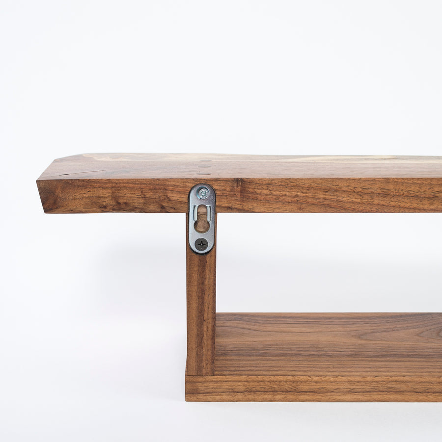 invisible wall cleats - solid walnut wall shelf