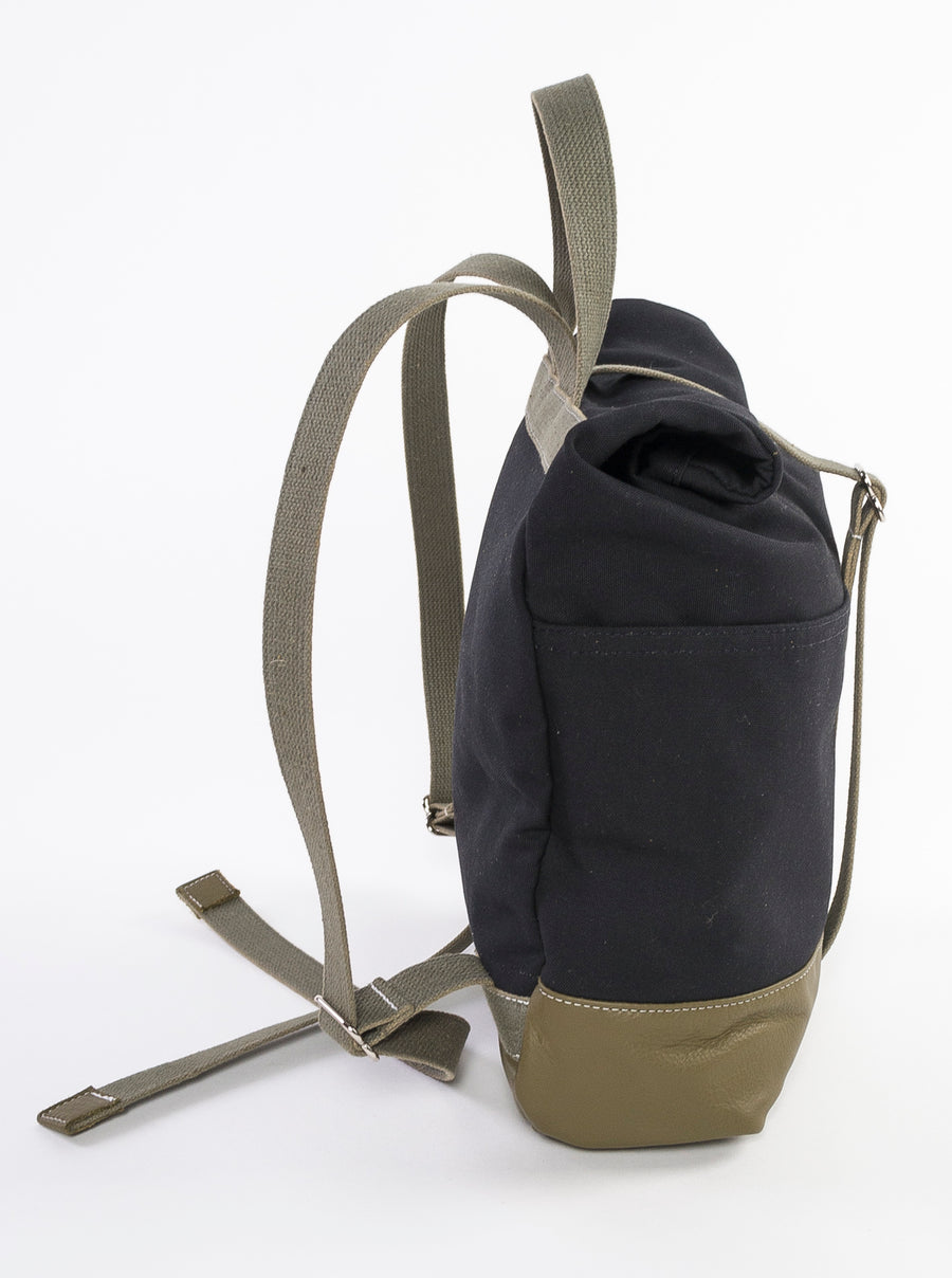 The Field Backpack by Wood.Stone.Bone. - side view - handmade in Maine - travel bag - fashionable