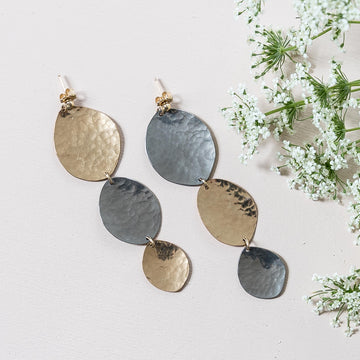 Textured Niobium + Gold Earrings