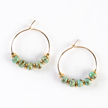Delicate Gold Hoop + Bead Earrings