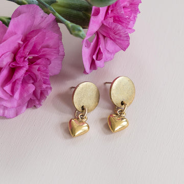 Heart Drop Stud Earrings