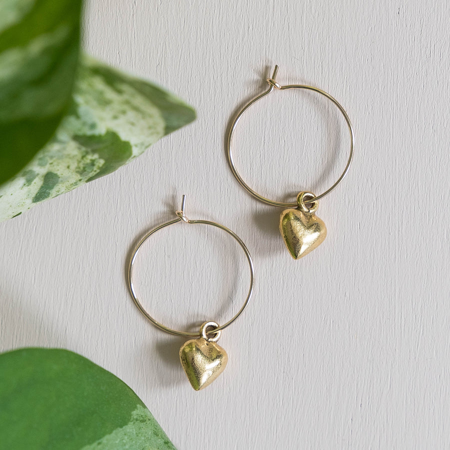 Delicate Heart Hoop Earrings