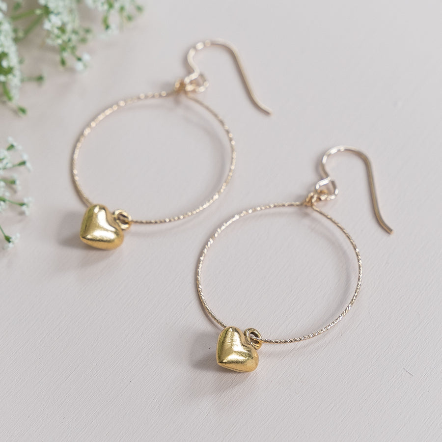 Sparkle Hoop Heart Earrings