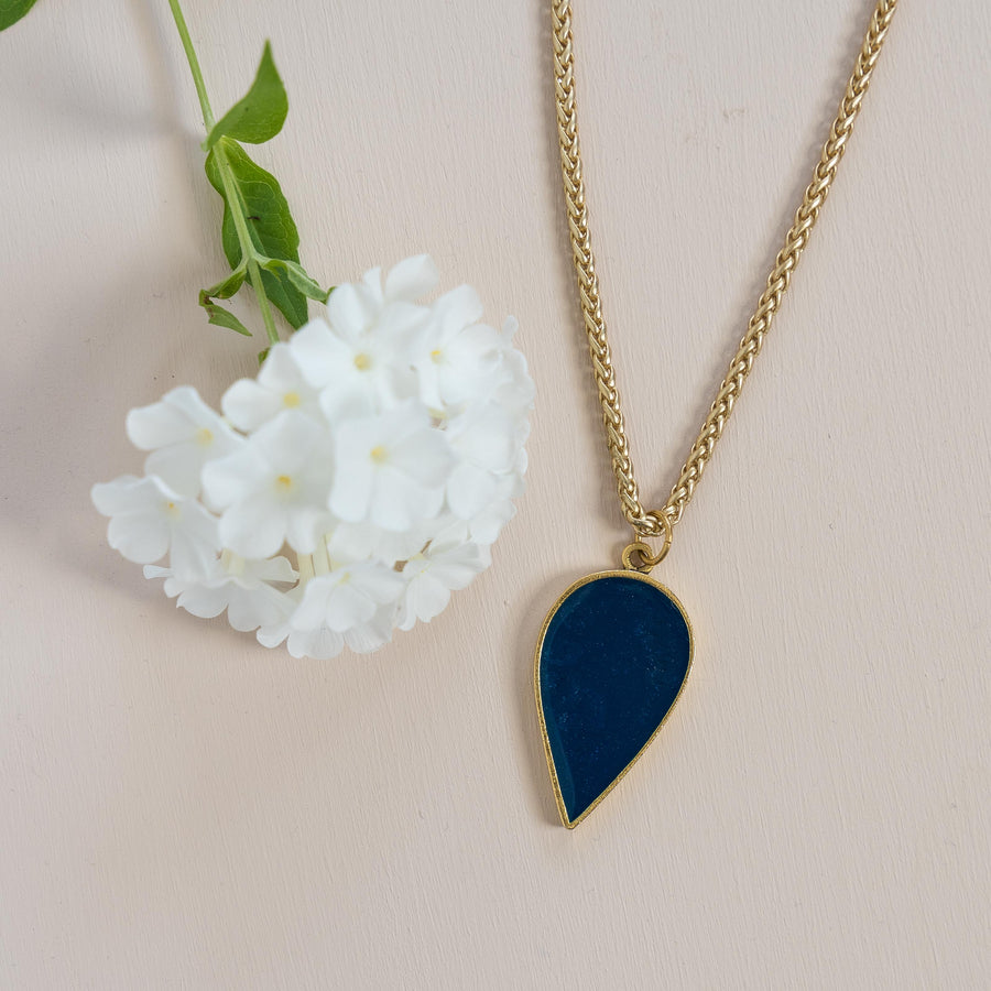 Azure + Brass Raindrop Necklace
