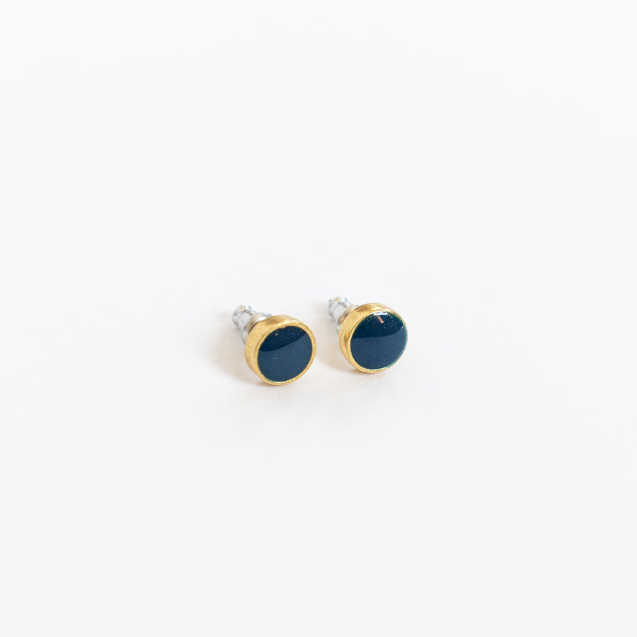 Azure + Brass Round Stud Earrings