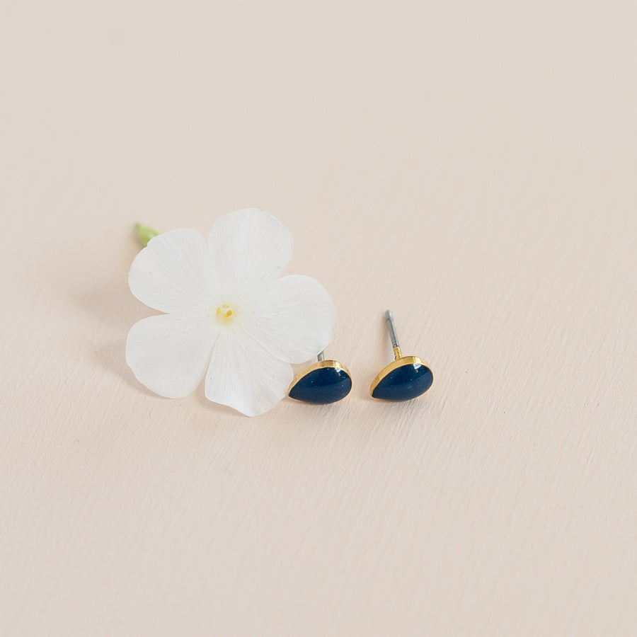 Azure Tear Drop Studs