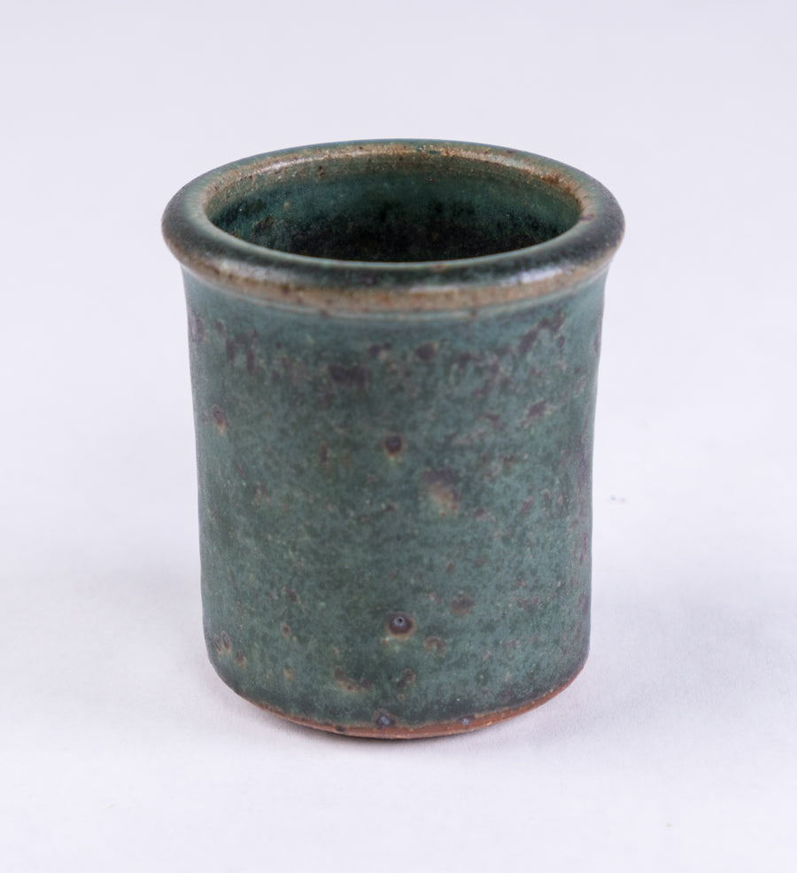 handmade pottery shot glass - stoneware - bluff point collection - made in Maine