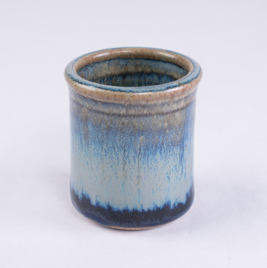 Stoneware Shot Cup - blue rutile - pottery made in Maine - handcrafted kitchenware