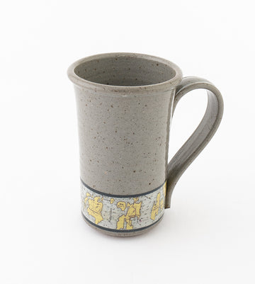 Tall Stoneware Coffee Mug - Hand-glazed with a Nautical Chart of the Maine Coast.