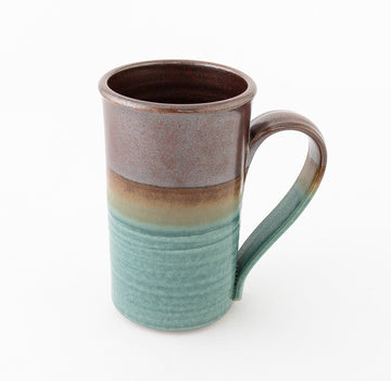 stoneware coffee and tea mug in woodland - pottery made in maine -
