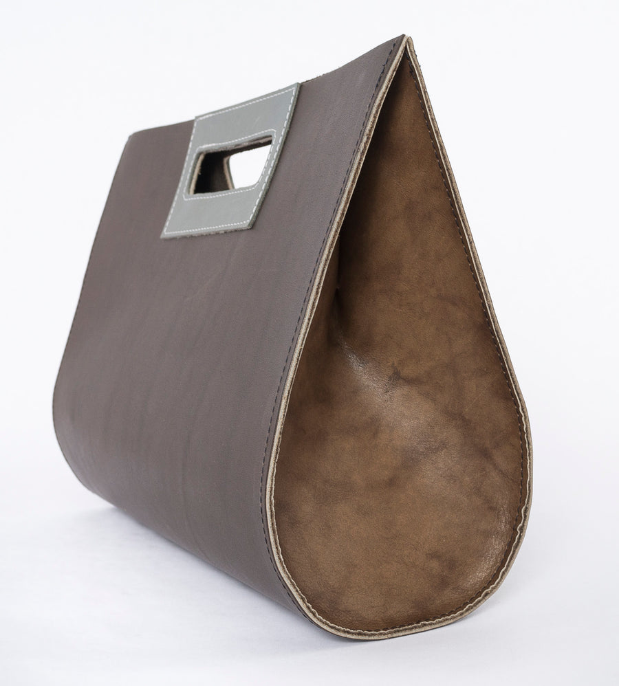 the teardrop leather bag in granite - sideview - durable - women's fashion - medium