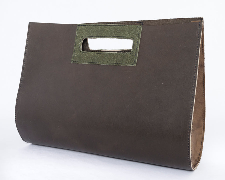the teardrop bag in moss - front view - brown leather - purse