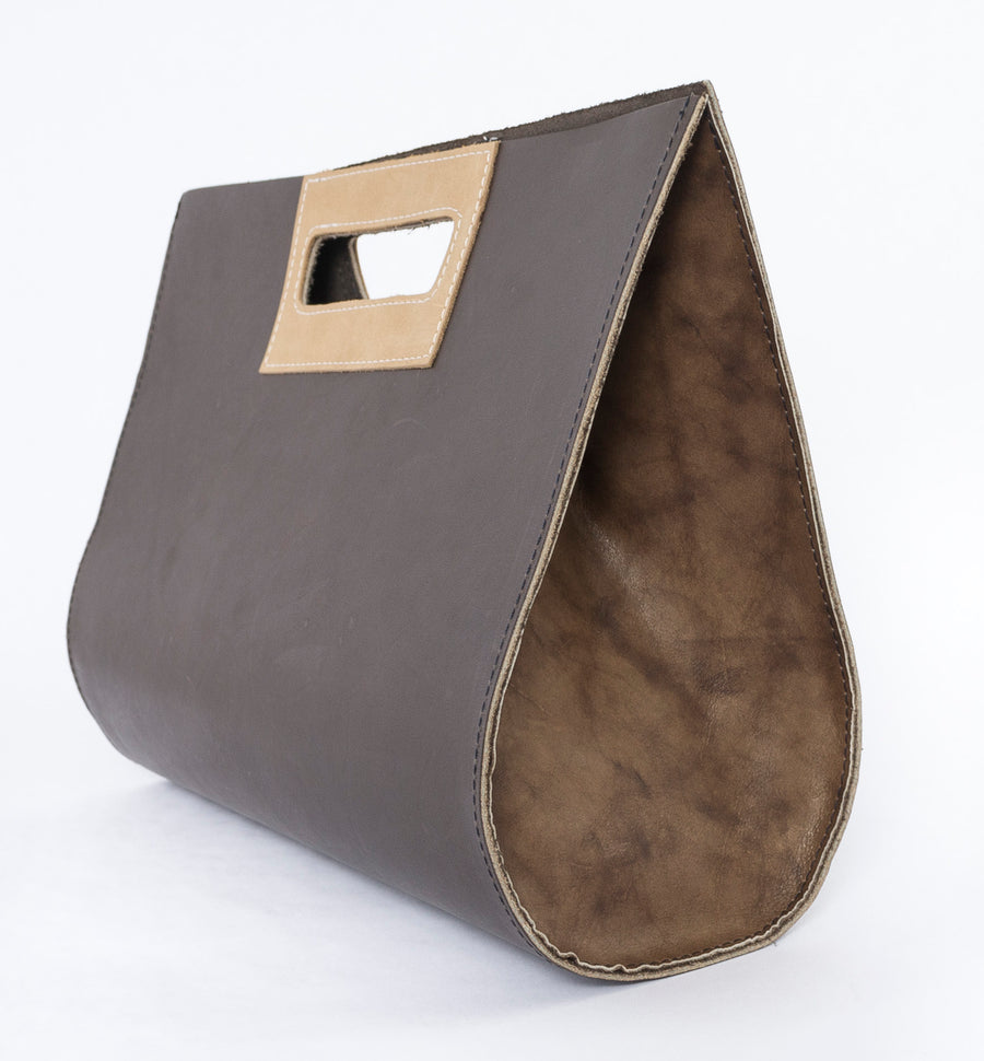 the teardrop leather bag in sand - sideview - purse - handmade in store - Wood.Stone.Bone.