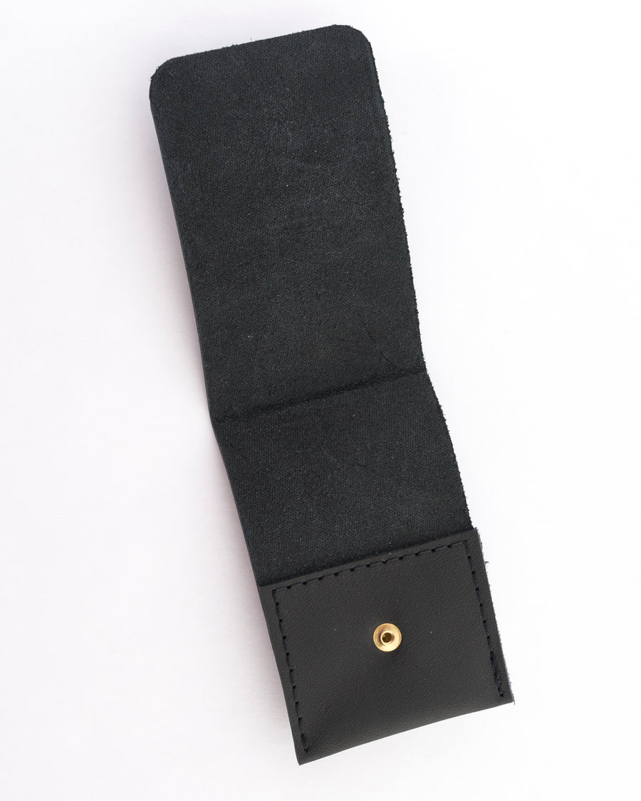 leather card wallet in black - wood.stone.bone. - handmade at Venn + Maker