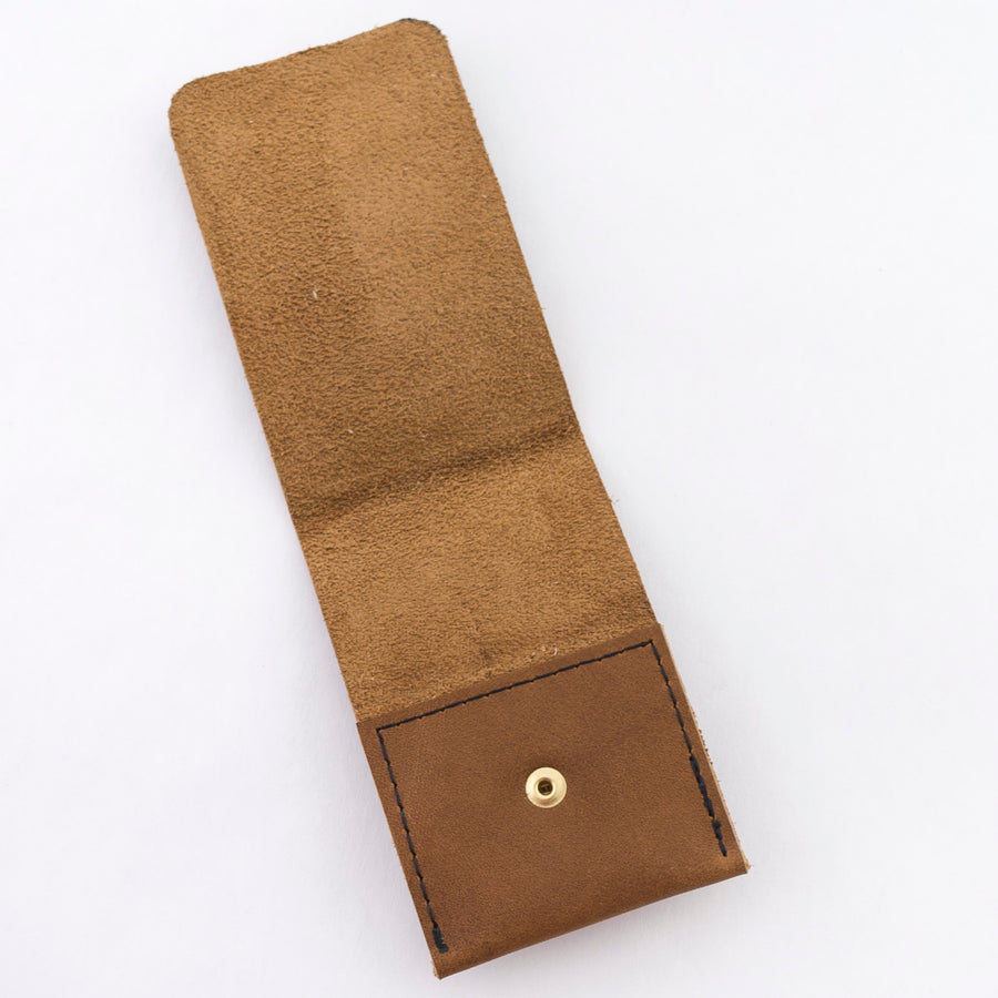 the card wallet in walnut - brown leather - handmade in house - minimalist style